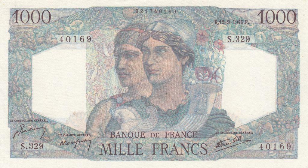 France 1000 Francs Minerve et Hercule - 03-10-1946 - Série T.355 - p.Neuf