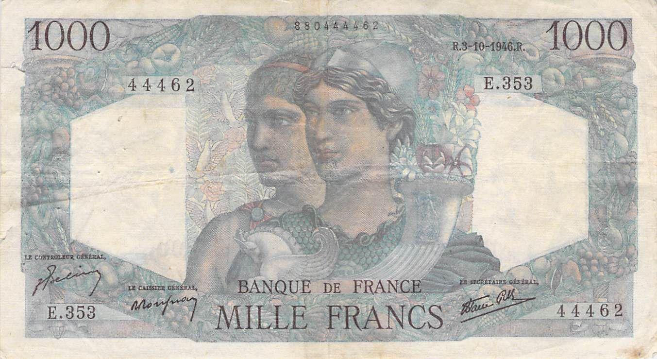 France 1000 Francs Minerve et Hercule - 03-10-1946 Série E.353 - PTTB