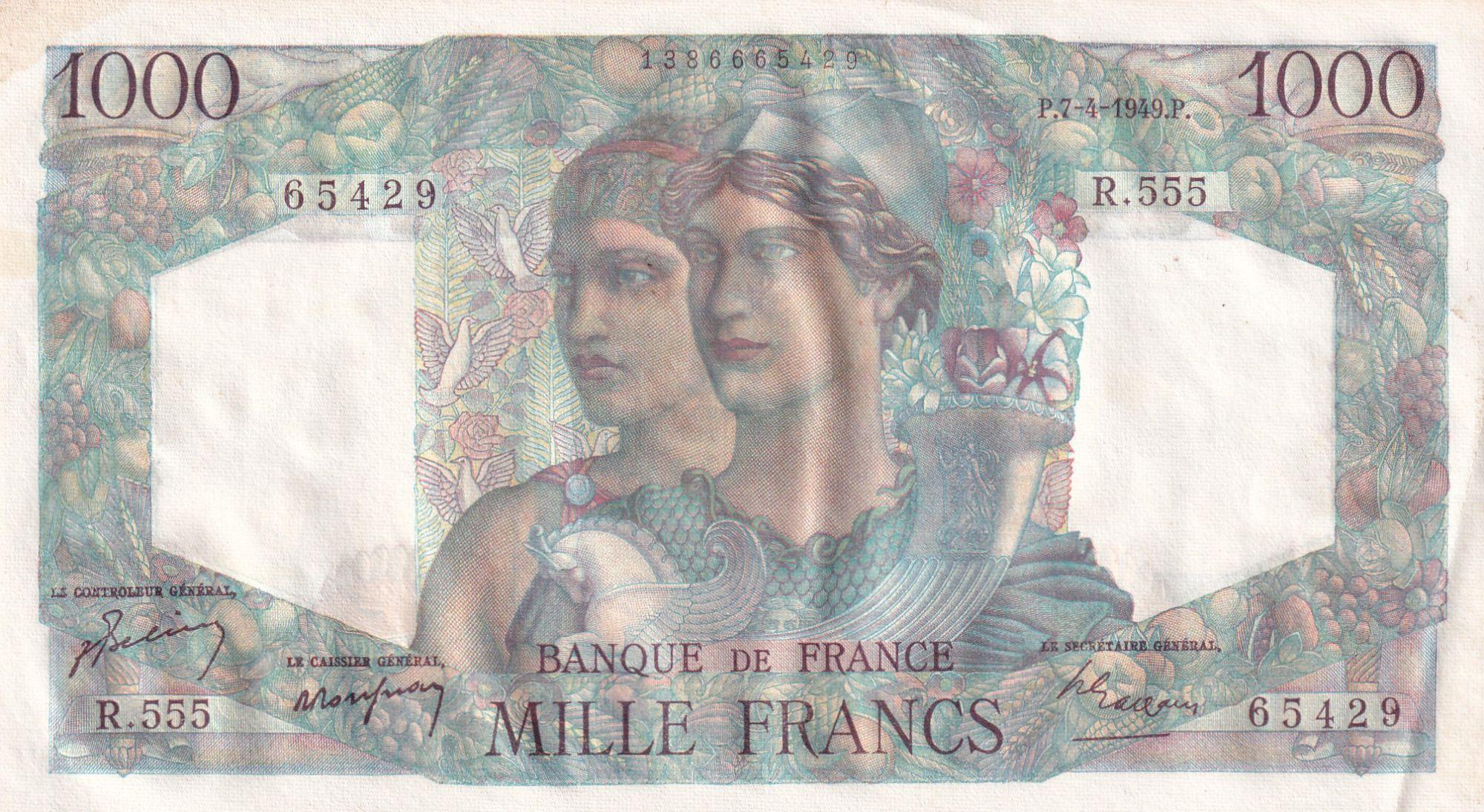 France 1000 Francs Minerve et Hercule - 07-04-1949 - Série R.555 n°65429 - SPL