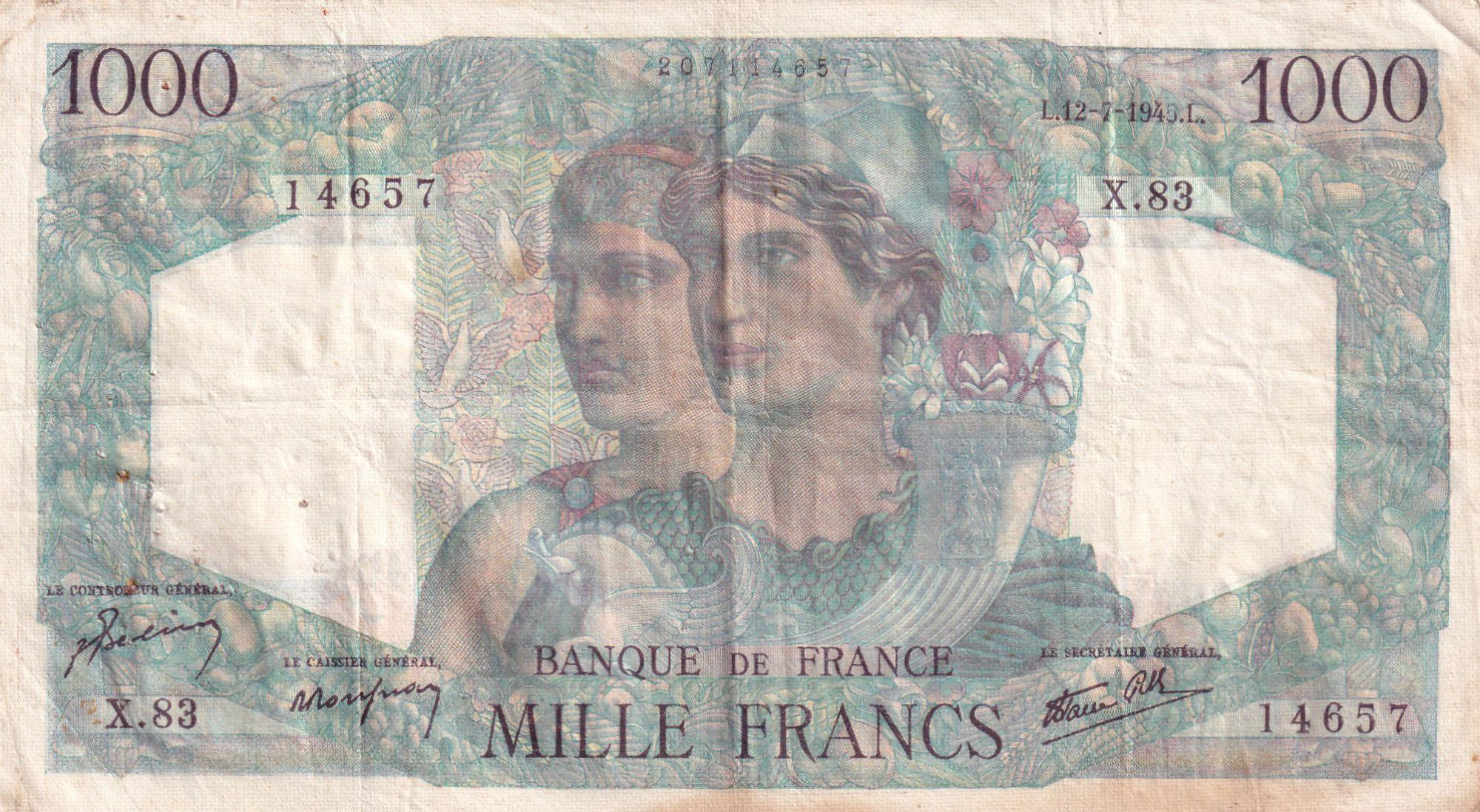 France 1000 Francs Minerve et Hercule - 12-07--1945 - Série X.83 - TTB