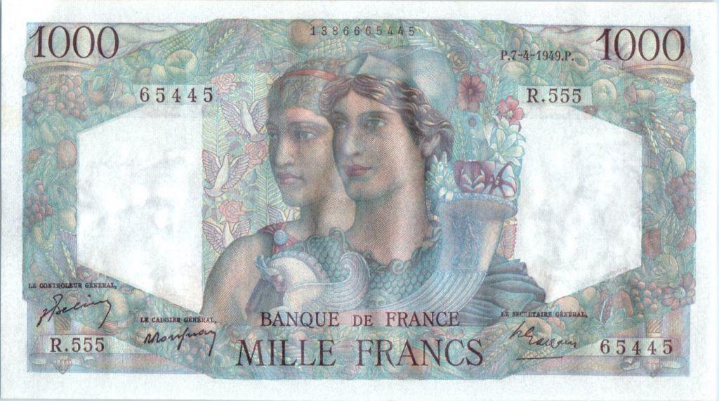 France 1000 Francs Minerve et Hercule - 1949  - R 555