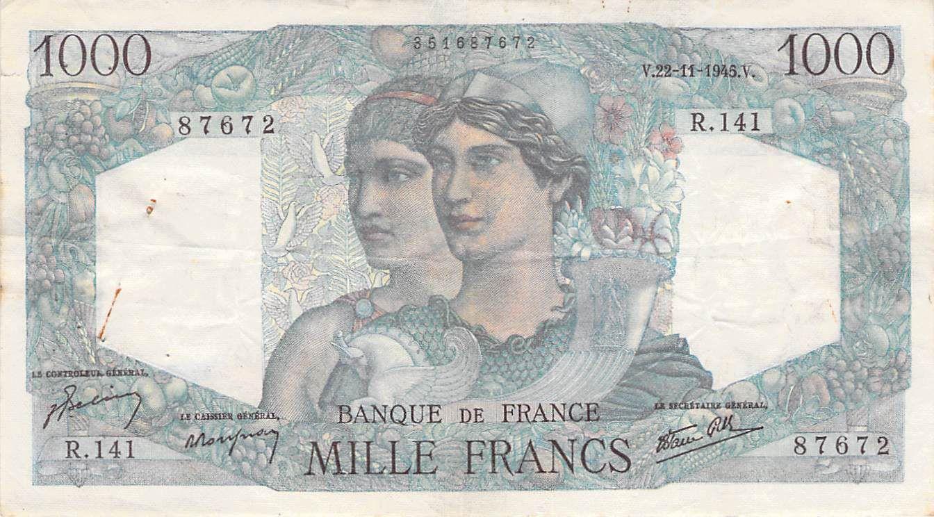 France 1000 Francs Minerve et Hercule -22-11-1945 Série R.141 - TTB