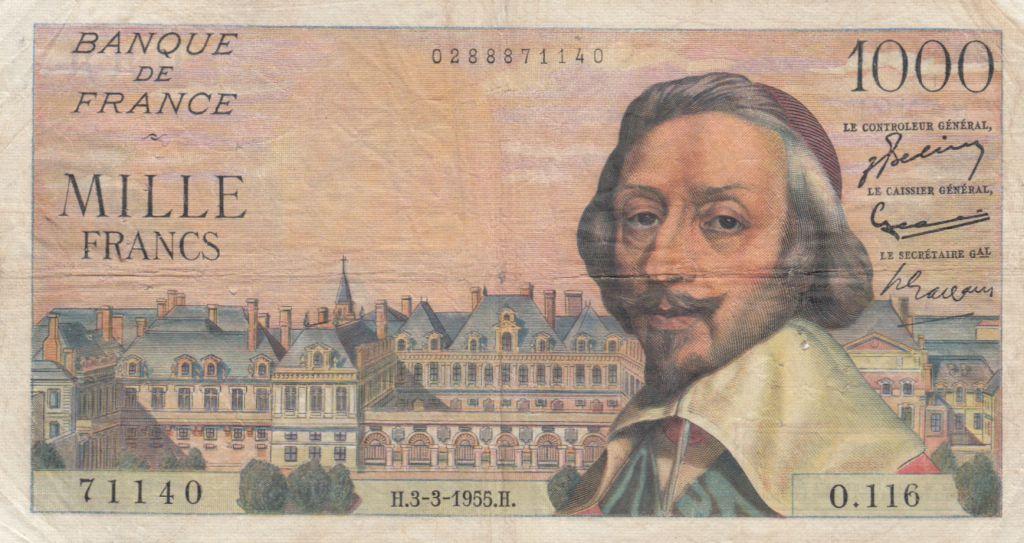 France 1000 Francs Richelieu -  03-03-1955 Serial O.116