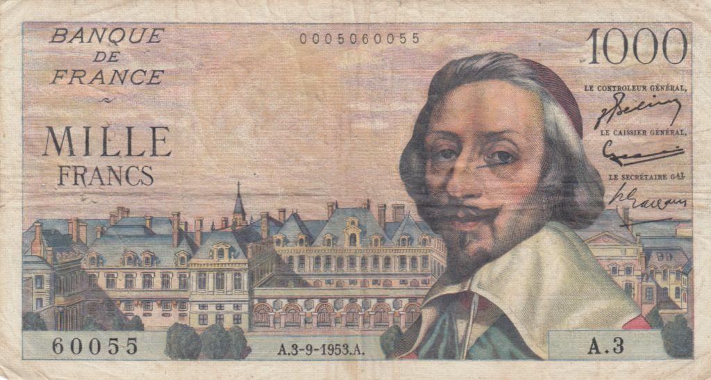 France 1000 Francs Richelieu - 03-09-1953 Série A.3