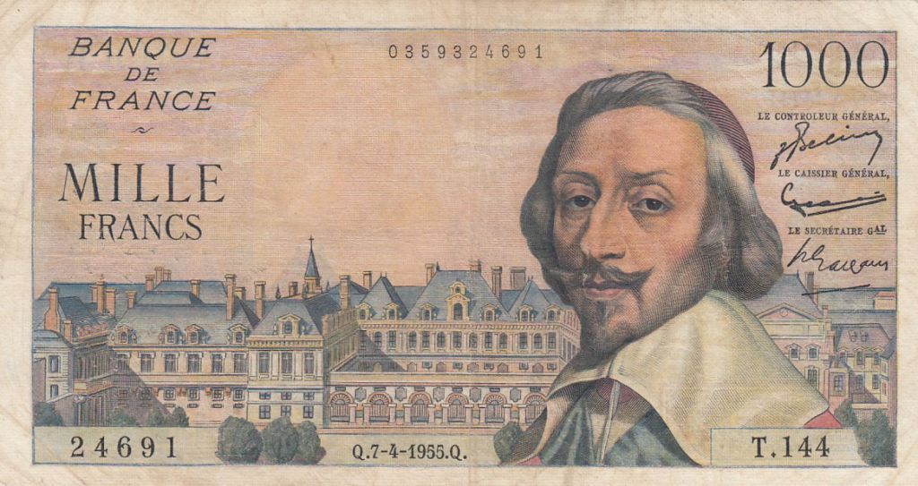 France 1000 Francs Richelieu - 07-04-1955 Série T.144 - TB