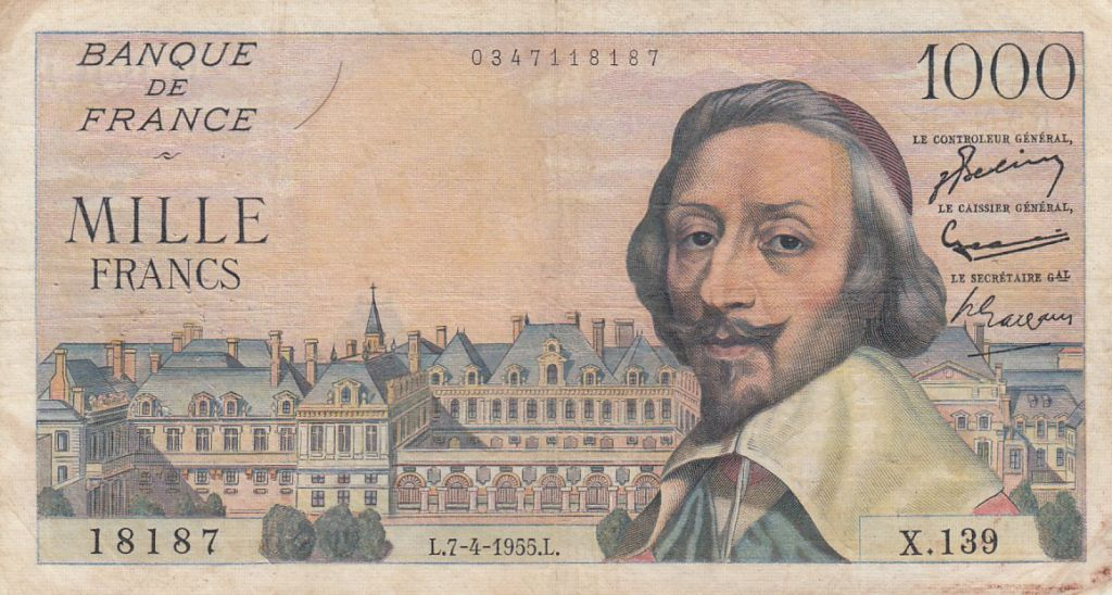France 1000 Francs Richelieu - 07-04-1955 Série X.139 - TB