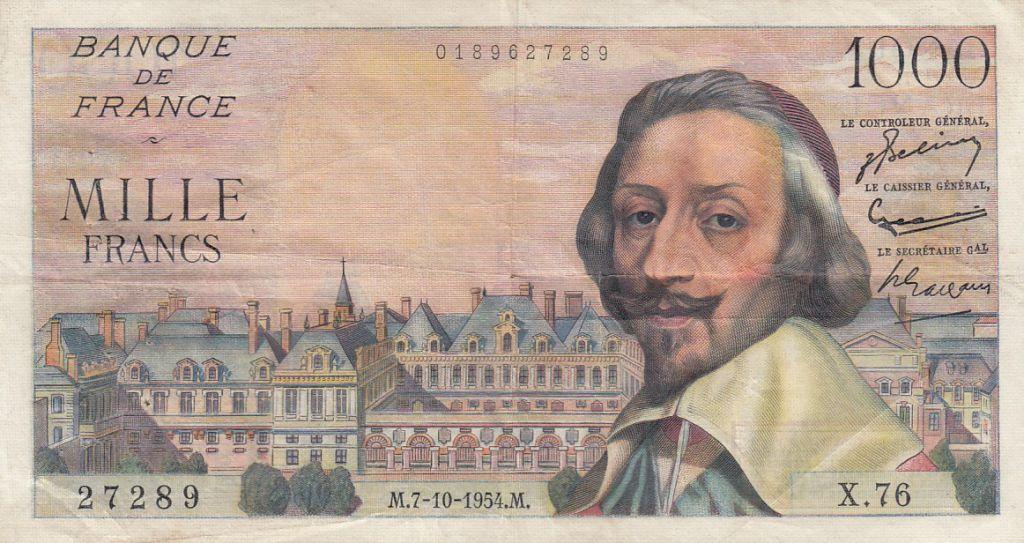 France 1000 Francs Richelieu - 07-10-1954 Série X.76
