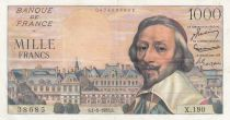 France 1000 Francs Richelieu 01-09-1955 - Serial X.190 - VF to XF - P.138