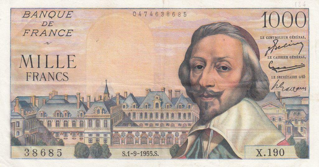 France 1000 Francs Richelieu 01-09-1955 - Série X.190 - TTB+