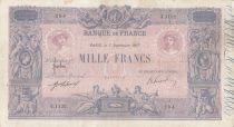France 1000 Francs Rose et Bleu - 07-09-1917 - Série J.1132 - TB