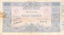 France 1000 Francs Rose et Bleu - 08-04-1925 - Série Y.1899 - PTB