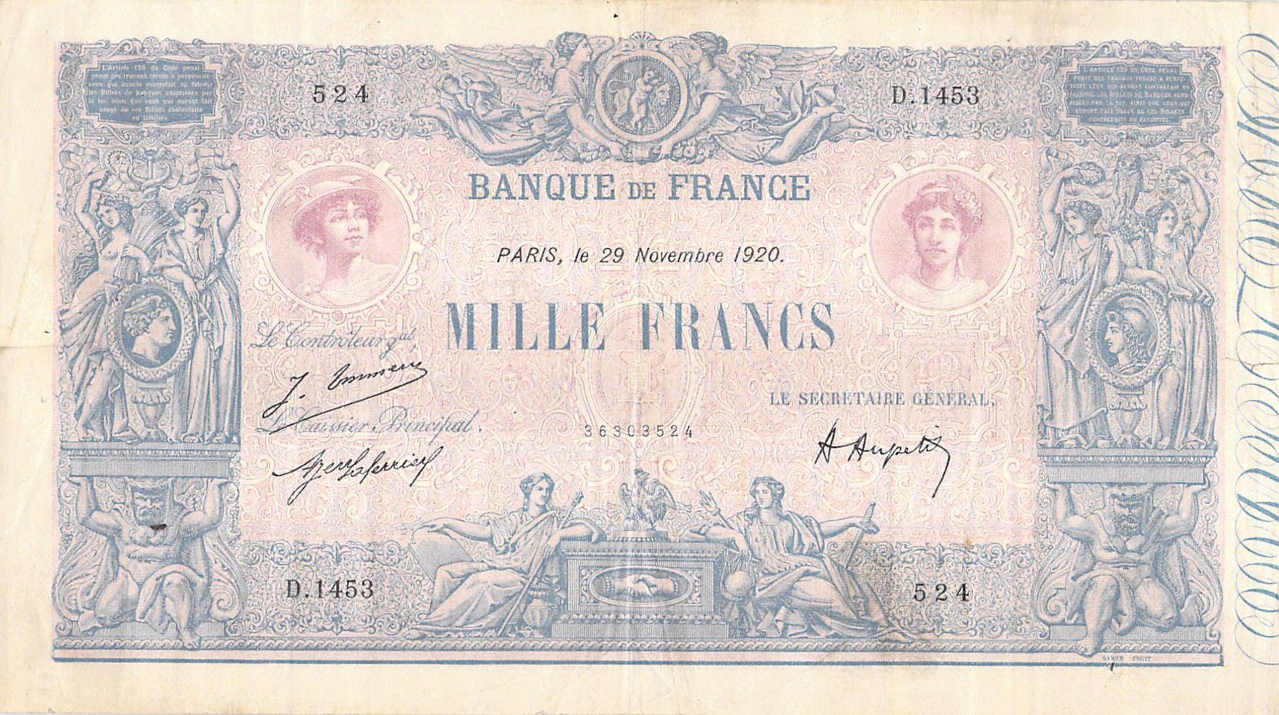 France 1000 Francs Rose et Bleu - 29-11-1920 - Série D.1443 - PTTB