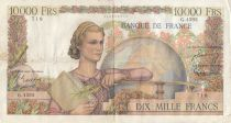 France 10000 Francs - 02-04-1953 Serial G.4593 - F+ to VF