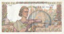 France 10000 Francs - 03-03-1955 Serial V.8401- VF+