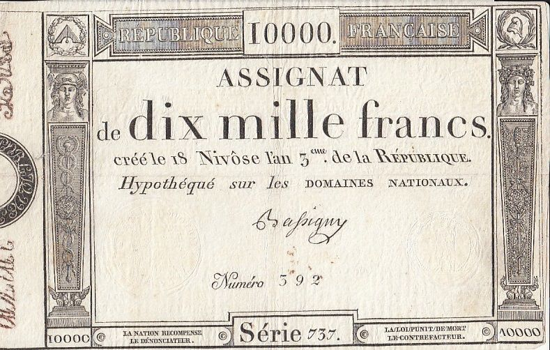 France 10000 Francs 18 Nivose Year III - 7.1.1795 - Sign. Bassigny