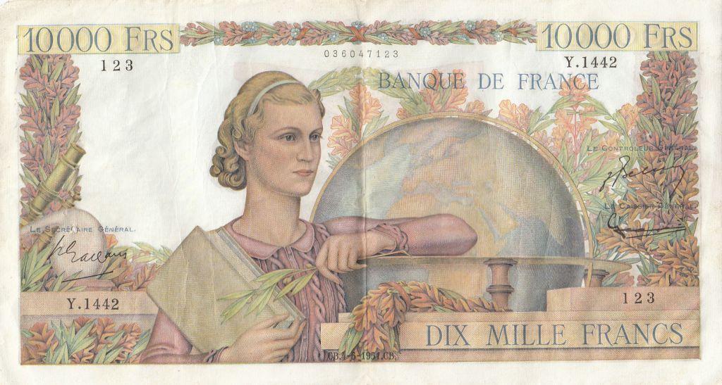 France 10000 Francs Génie Français - 04-05-1951 Série Y.1442-123 - pTTB