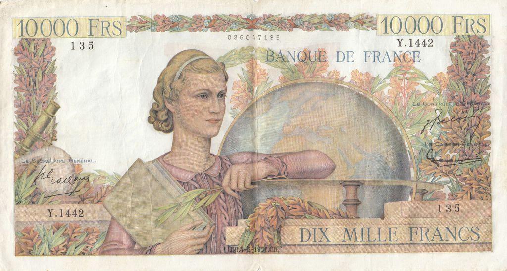 France 10000 Francs Génie Français - 04-05-1951 Série Y.1442-135 - pTTB