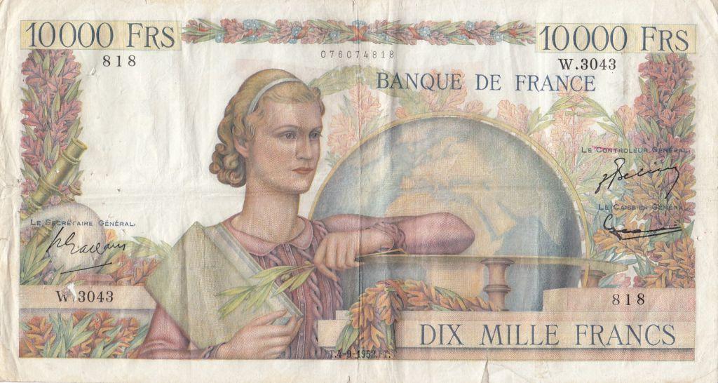 France 10000 Francs Génie Français - 04-09-1952 Série W.3043- TB+