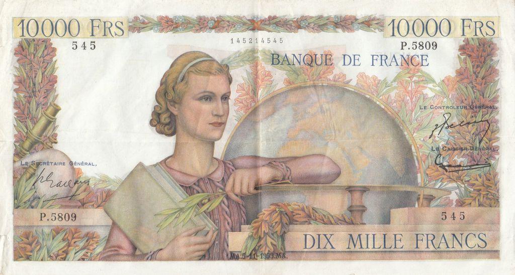 France 10000 Francs Génie Français - 05-11-1953 Série P.5809 - TTB