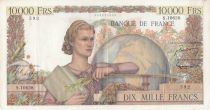 France 10000 Francs Woman with globe - 02-02-1956 - Serial S.10628 - VF