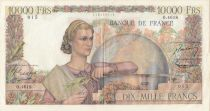 France 10000 Francs Woman with globe - 02-04-1953 - Serial O.4618 - VF +