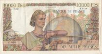 France 10000 Francs Woman with globe - 04-06-1953 - Serial S.5128 - VF