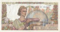 France 10000 Francs Woman with globe - 04-06-1953 - Serial Y.4980