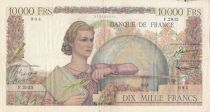 France 10000 Francs Woman with globe - 04-12-1952 - Serial F.2935 - VF