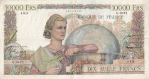 France 10000 Francs Woman with globe - 04-12-1952 - Serial G.3675 - VF