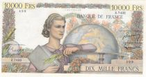 France 10000 Francs Young woman with book and globe - 01-07-1954 Serial Z.7432 - VF