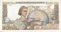 France 10000 Francs Young woman with book and globe - 01-09-1955 Serial G.9803 - VF