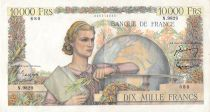 France 10000 Francs Young woman with book and globe - 01-09-1955 Serial N.9829 - VF+