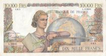 France 10000 Francs Young woman with book and globe - 02-02-1956 Serial L.10891 - VF
