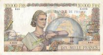 France 10000 Francs Young woman with book and globe - 03-03-1955 Serial R.8102 - VF