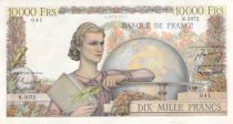 France 10000 Francs Young woman with book and globe - 04-06-1953 Serial N.5072 - VF
