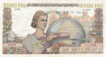 France 10000 Francs Young woman with book and globe - 04-09-1952 Serial B.3078 - VF