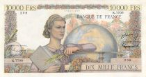 France 10000 Francs Young woman with book and globe - 04-11-1954 Serial K.7700 - VF