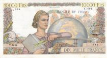 France 10000 Francs Young woman with book and globe - 04-11-1954 Serial V.7694 - VF