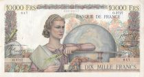 France 10000 Francs Young woman with book and globe - 04-12-1952 Serial O.3727 - VF