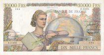 France 10000 Francs Young woman with book and globe - 05-04-1956 Serial F.11471 - VF+
