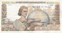 France 10000 Francs Young woman with book and globe - 06-11-1952 Serial L.3569 - VF