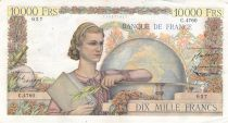 France 10000 Francs Young woman with book and globe - 07-05-1953 Serial C.4760 - VF