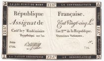 France 125 Livres - 7 Vendémiaire An II - 1793 - Sign. Bacquin - TTB
