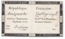 France 125 Livres - 7 Vendémiaire An II - 1793 - Sign. Bassigny - TTB