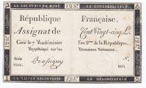 France 125 Livres - 7 Vendémiaire An II - 1793 - Sign. Bassigny - TTB