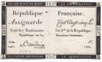 France 125 Livres - 7 Vendémiaire An II - 1793 - Sign. Bauduin - TB+