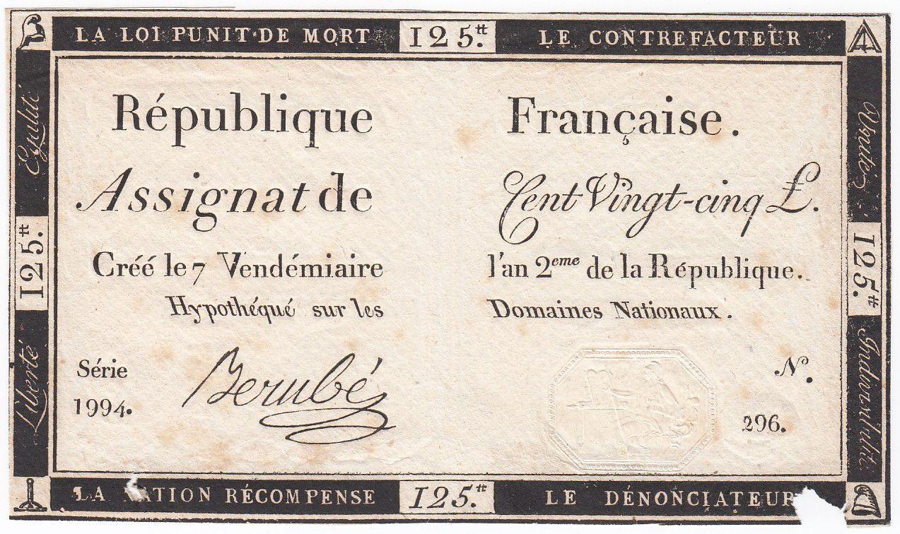 France 125 Livres - 7 Vendémiaire An II - 1793 - Sign. Berubé - VG to F