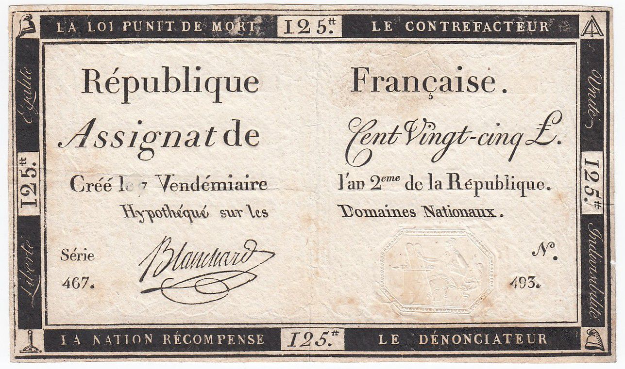 France 125 Livres - 7 Vendémiaire An II - 1793 - Sign. Blanchard - TTB