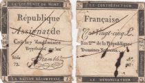 France 125 Livres - 7 Vendémiaire An II - 1793 - Sign. Bramblé - Faux