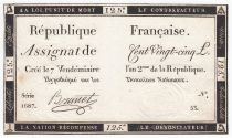 France 125 Livres - 7 Vendémiaire An II - 1793 - Sign. Brunet - TTB